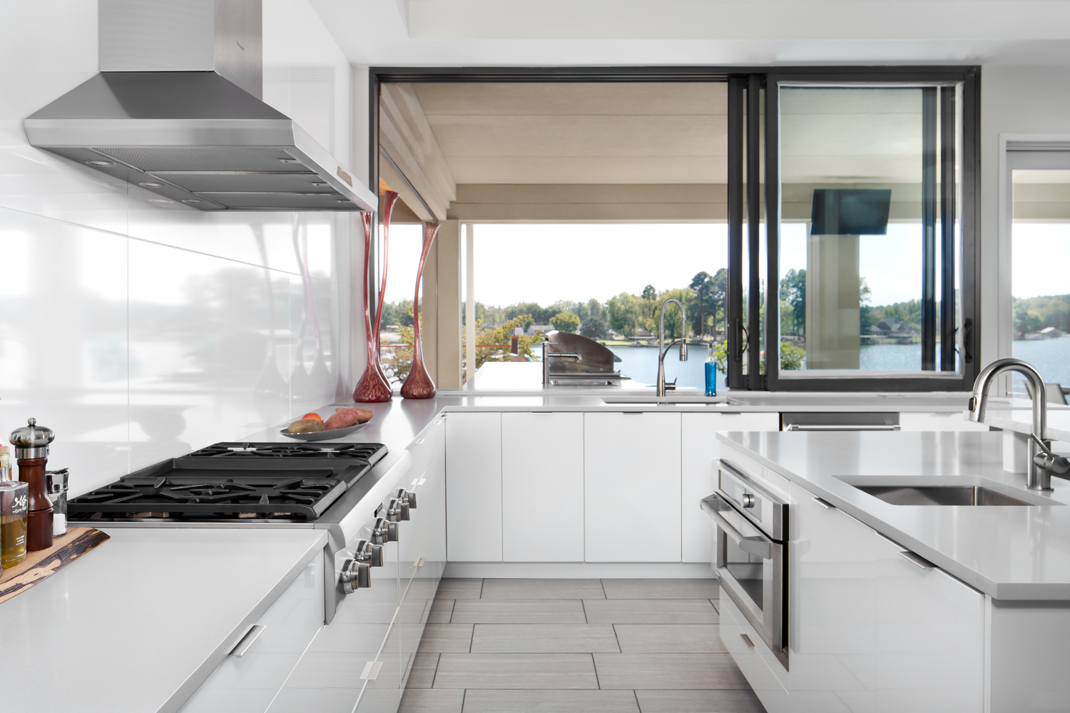 Details and materials shine in an indoor/outdoor kitchen design